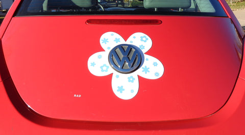VW Beetle Flower Magnetic Decal- Light Blue Flowers