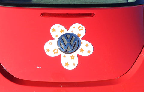 VW Beetle Flower Magnetic Decal- Orange Flowers