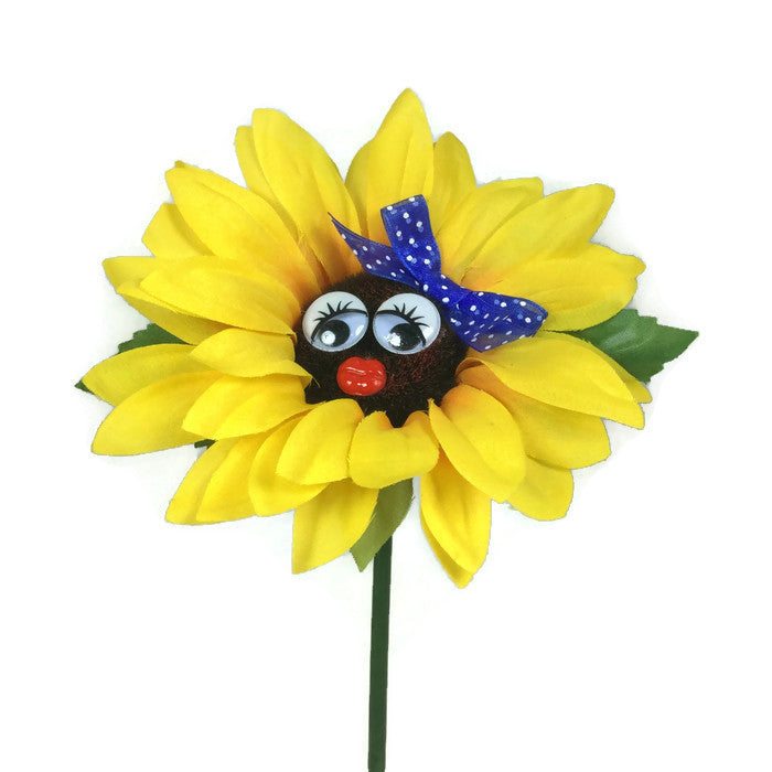 VW Beetle Flower - Sunflower with Blue Bow