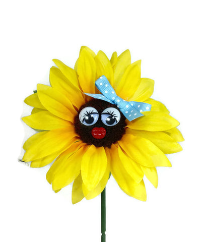 VW Beetle Flower - Sunflower with Light Blue Bow