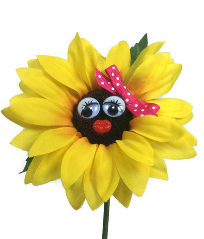 VW Beetle Flower - Sunflower with Pink Bow