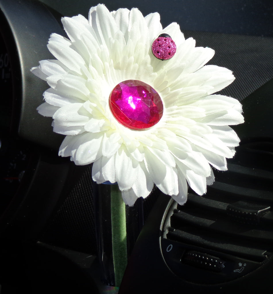 VW Beetle Flower - White and Pink Bling Daisy