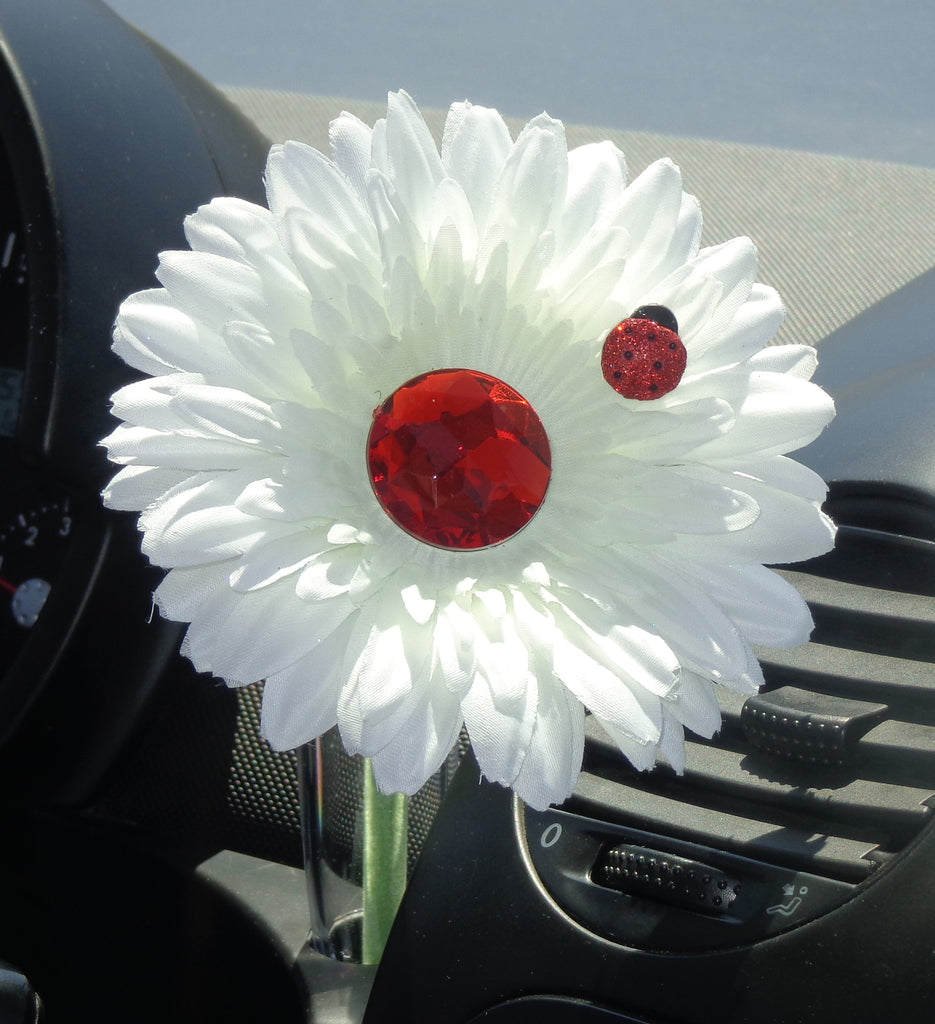 VW Beetle Flower - White and Red Bling Daisy