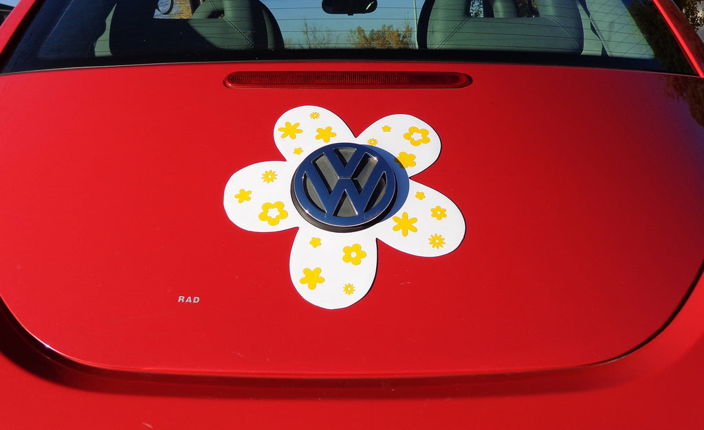 VW Beetle Flower Magnetic Decal- Yellow Flowers
