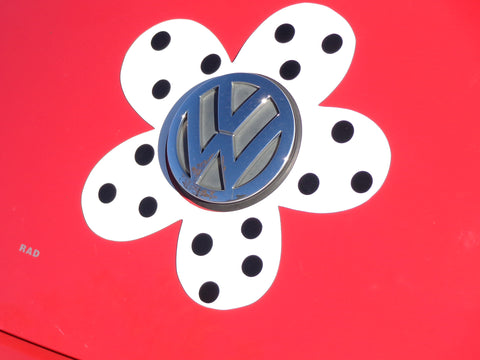 Gray Polka Dots VW Beetle Flower Magnetic Decal