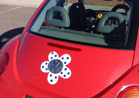 Magnetic Decal Flower - Blue Polka Dots