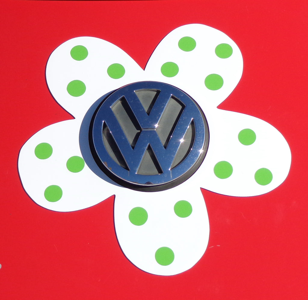 Magnetic Decal Flower - Green Polka Dots