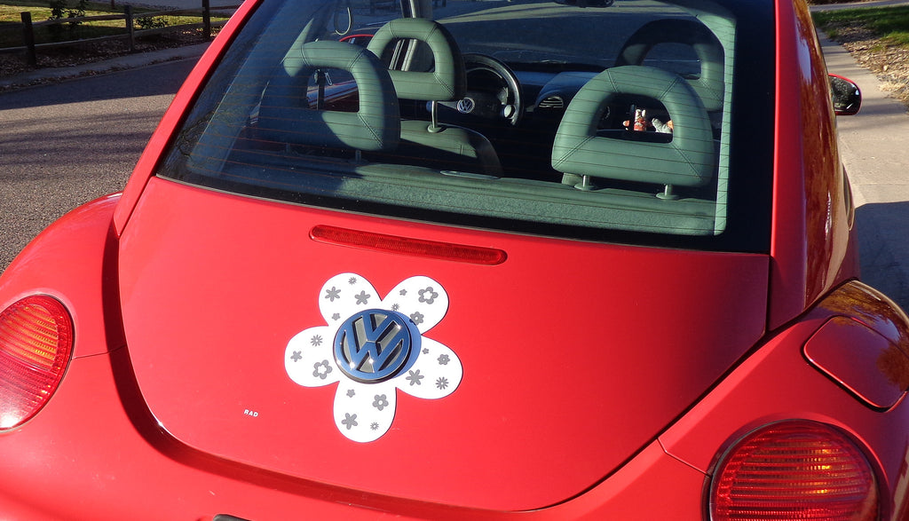 VW Beetle Flower Magnetic Decal- Gray Flowers