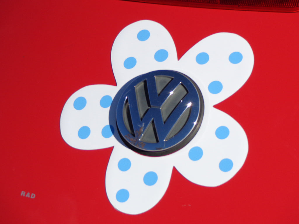 Magnetic Decal Flower - Light Blue Polka Dots