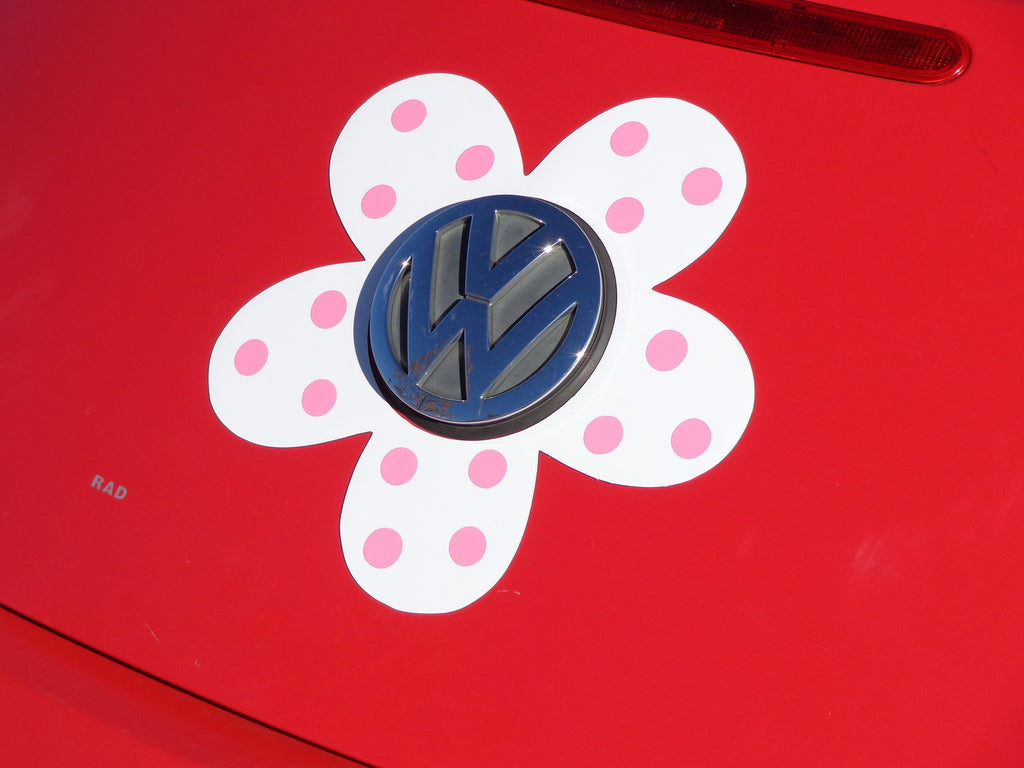 Magnetic Decal Flower - Pink Polka Dots