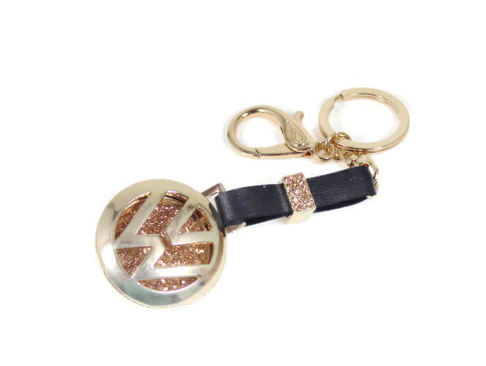 VW Key Chain Gold and Diamond Rhinestone