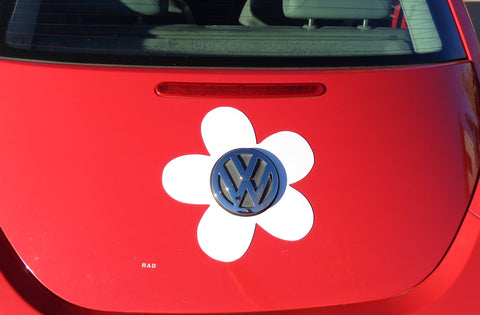 VW Beetle Flower Magnetic Decal- White
