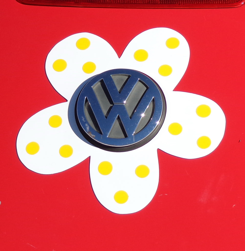 Magnetic Decal Flower - Yellow Polka Dots