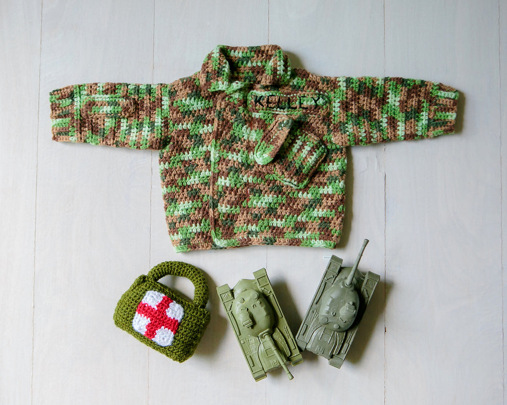 Military Camouflage Uniform Baby Sweater, Newborn to 3 Month Size, Hand Crocheted