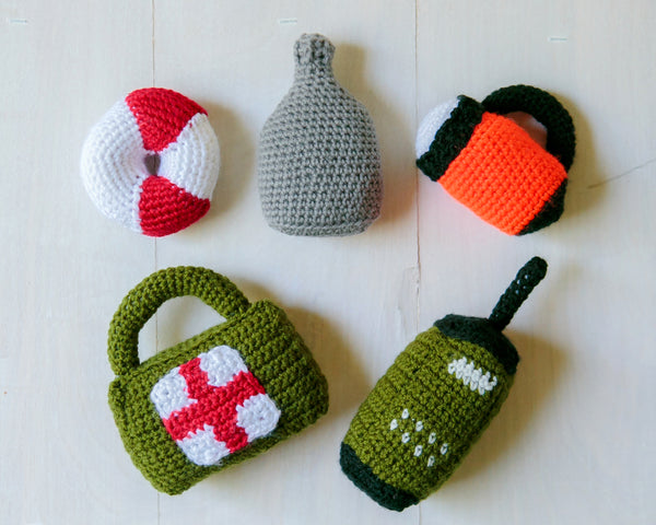 Big Book of Baby Rattles Crochet Patterns Ebook - Occupational: Firefighter Axe, Briefcase, Flashlight, Drill, AED, Lumberjack Axe, Radio