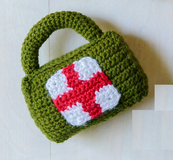 Briefcase Rattle Crochet Pattern, First Aid Kit Rattle Pattern, Handbag Rattle Pattern