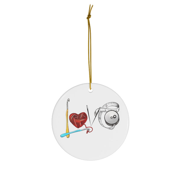 Love Crochet Ceramic Christmas Ornament