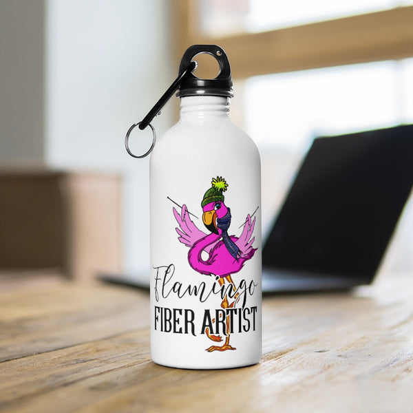 Flamingo Fiber Artist Stainless Steel Water Bottle