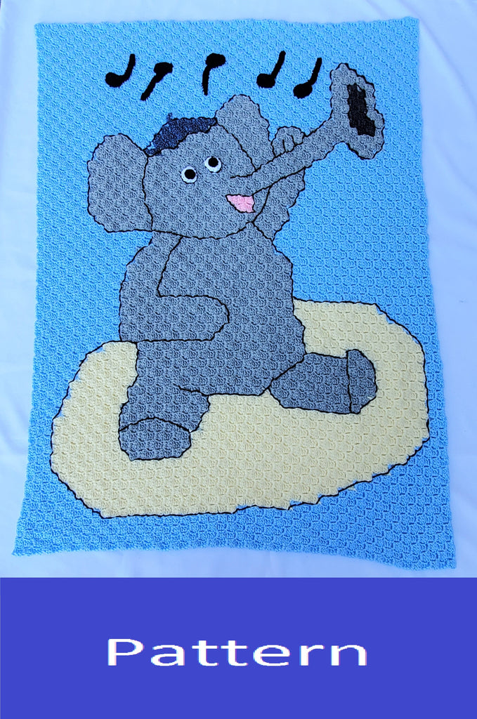 Miles the Jazzy Elephant C2C Afghan Crochet Pattern