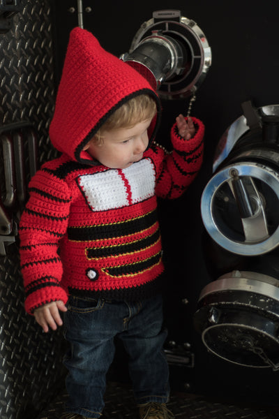 Train Engine Toddler Hoodie Crochet Pattern - Sizes 2 and 4 - Hoodie Zips up the Back