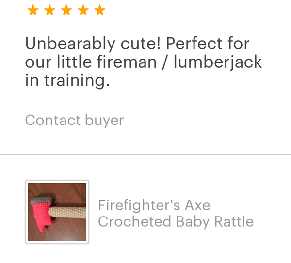 Baby Firefighter Axe Rattle Crochet Pattern