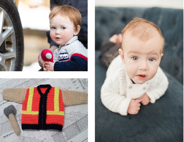 """Take Baby to Work Day"" Sweaters - Skilled Trades Edition Crochet Patterns Ebook - Chef, Construction Worker, Auto Mechanic"