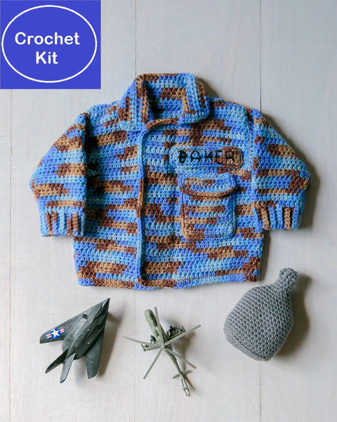 Crochet Kit for Baby Air Force Sweater and Canteen Baby Rattle
