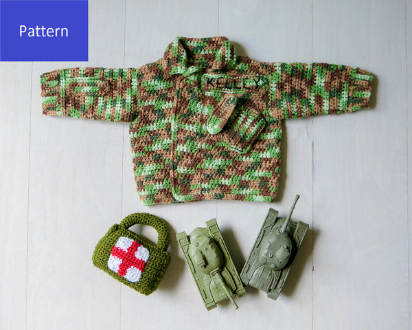 Military Camouflage Baby Sweater Crochet Pattern