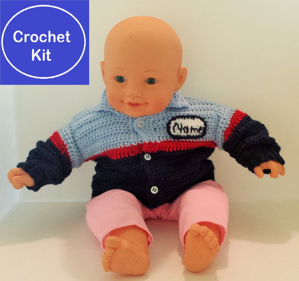 Crochet Kit for Baby Auto Mechanic Uniform Sweater plus Impact Wrench shaped rattle - size NB to 3 mth, 3-6 mth, or 9-12 mth