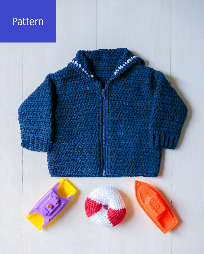 Baby Sailor Crackerjack Sweater & Lifesaver Rattle Crochet Pattern, Instant PDF Download
