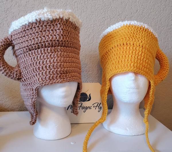Beer Mug Hat Crochet Pattern (Women's and Men's sizes)