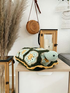 Benjamin the Turtle Nap Buddy Crochet Pattern - Turtle Toddler Blanket Crochet Pattern