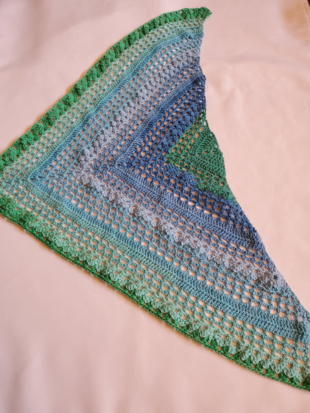 Texas Bluebonnet Shawl, Crocheted in Cotton - Adult Ladies' Size