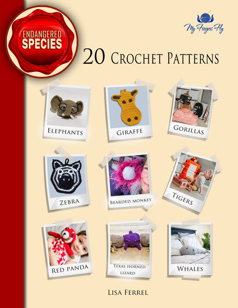 Endangered Animals Crochet Pattern Ebook - Elephants, Whales, Red Panda, Tigers, Zebra, Giraffe, Gorilla, Bearded Monkey, Horny Toads