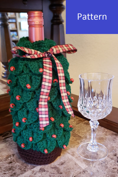 Christmas Tree Wine Gift Bag Crochet Pattern