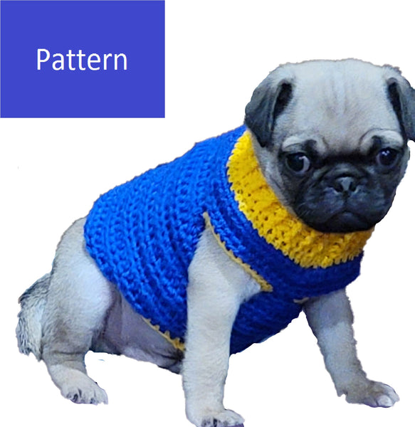 Pug Puppy Sweater Crochet Pattern - French Bulldog Sweater Crochet Pattern - Chihuahua Sweater - Poodle Sweater