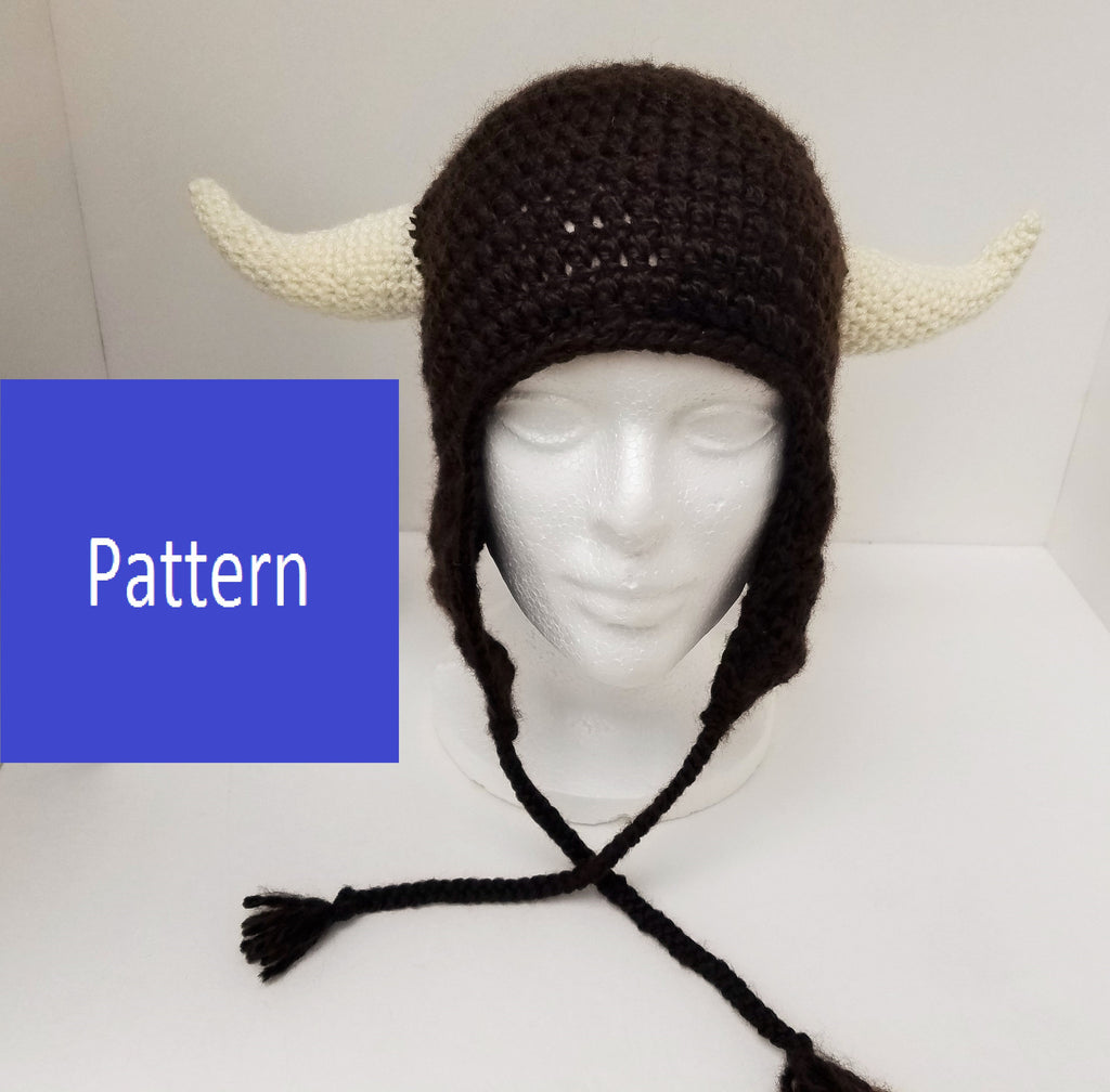 Buffalo Horned Earflap Hat Crochet Pattern (adult size)