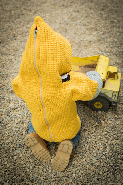 Bulldozer Toddler Hoodie Crochet Kit - Sizes 2 and 4 - Hoodie Zips up the Back