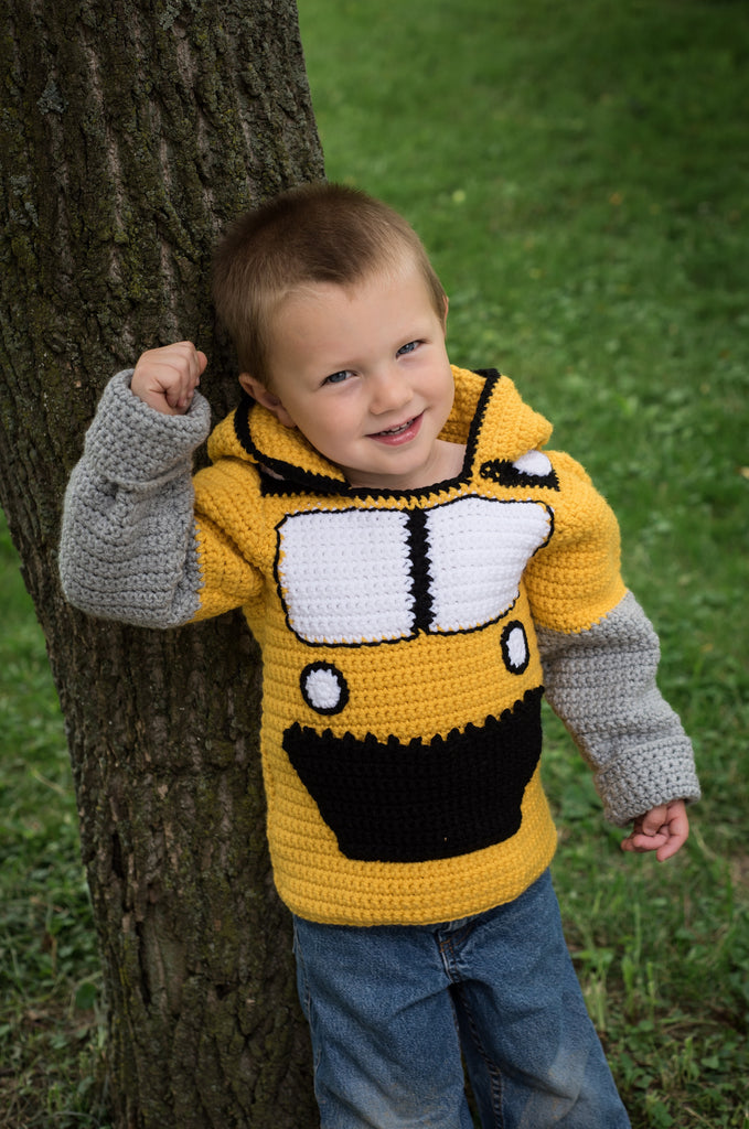 Bulldozer Toddler Hoodie Crochet Pattern Sizes 2 And 4 Hoodie Zips My Fingers Fly