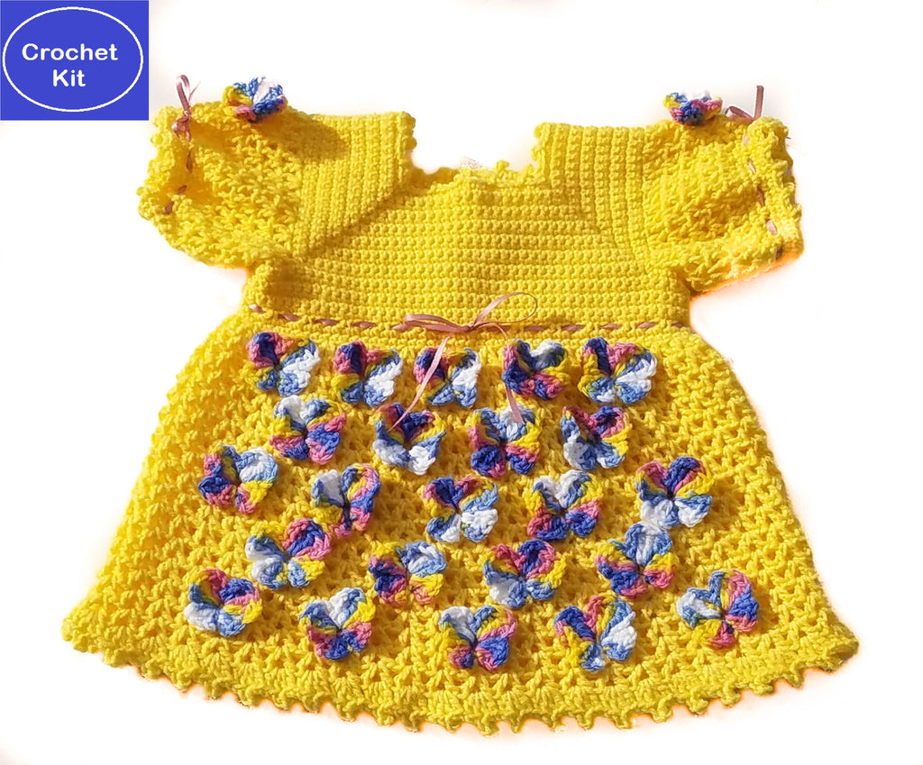 Crochet Kit for Butterfly Baby Girl Dress, Size 3 months, 6 months, and 9-12 months