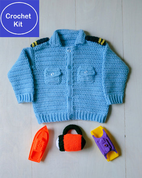 Crochet Kit for Baby Coastal Military Sweater and Flashlight Baby Rattle