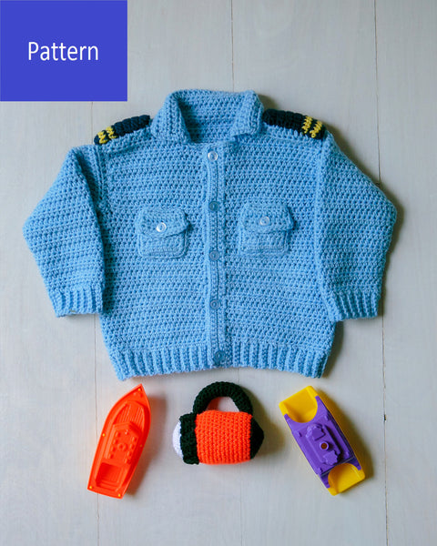 Coastal Military Baby Sweater Crochet Pattern
