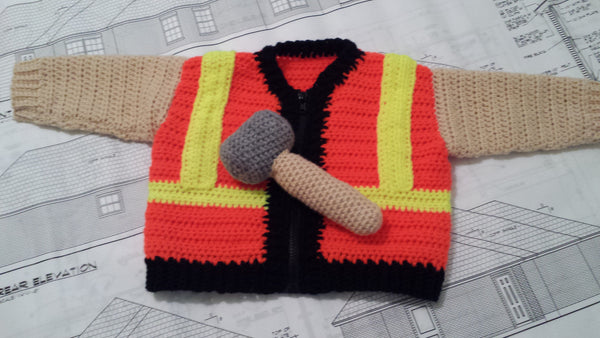 Construction Worker Baby Sweater Crochet Pattern - Take Baby to Work Day Sweater Crochet Pattern