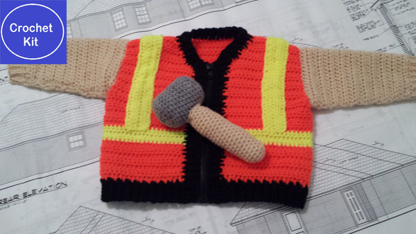 Crochet Kit for Baby Construction Worker Sweater plus Hammer-shaped rattle - size NB to 3 mth, 3-6 mth, or 9-12 mth