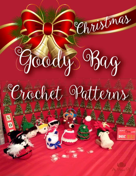 Peppermint Candy Cane Goody Bag Crochet Pattern in PDF Format