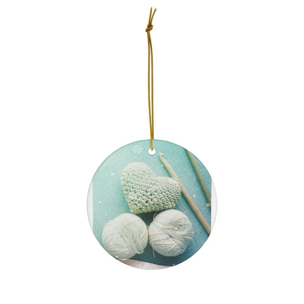 Yarn & Crochet Hook Ceramic Ornament