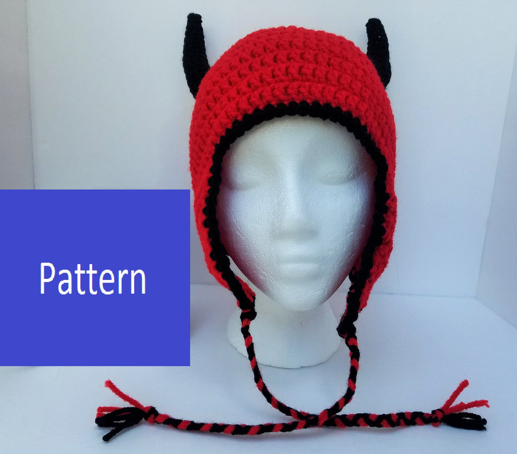 Devil Horned Earflap Hat Crochet Pattern (adult size)
