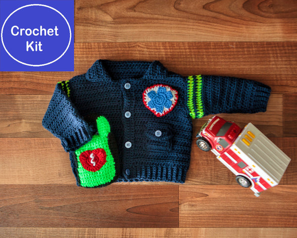 Crochet Kit for Baby Paramedic/EMT Sweater plus AED-shaped rattle - size NB to 3 mth, 3-6 mth, or 9-12 mth