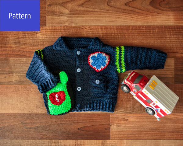 EMT/Paramedic Baby Sweater Crochet Pattern - Take Baby to Work Day Sweater Crochet Pattern
