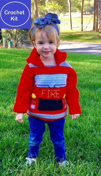 Fire Truck Toddler Hoodie Crochet Kit - Sizes 2 and 4 - Hoodie Zips up the Back